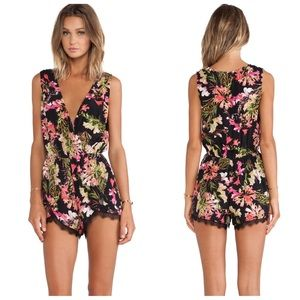 Lovers + Friends Can't Let Go Floral Romper Medium